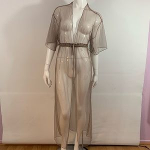 Solid Sheer Duster Cover Up Top Dolman Sleeve Belt